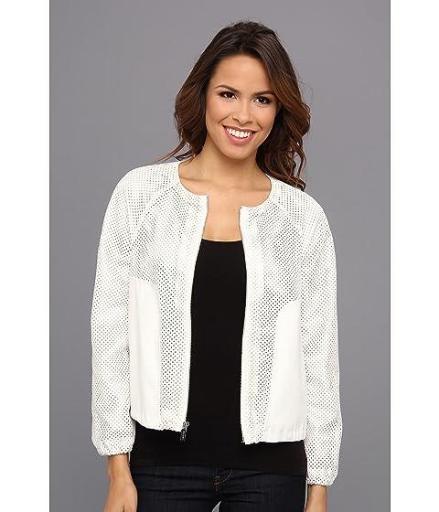 Calvin Klein Womens Perforated Polyurethane Bomber Jacket Birch - Blazers & Jackets