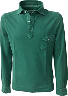 Della Ciana Polo Uomo Manica Lunga con Taschino MOD 43370L Verde Smeraldo 100% Cotone Made in Italy