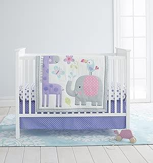 purple and yellow crib bedding set
