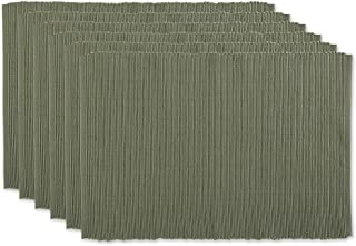 DII 100% Cotton Basic Ribbed Placemat Set, 13x19, Artichoke 6 Count