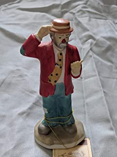 Clown Hitching a Ride, Collectible Porcelain Figurine Hand Painted by Emmett Kelly Jr
