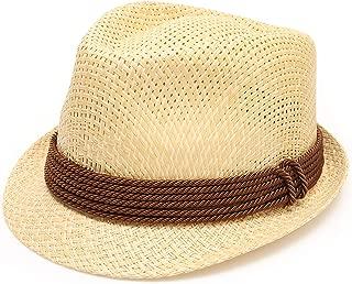 Men's Summer Lightweight Paper Straw Short Brim Trilby Fedora Hat with Band