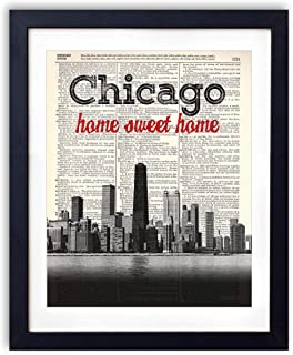 Chicago Home Sweet Home Vintage Dictionary Art Print 8x10