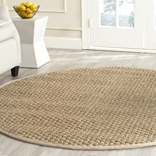 Safavieh Natural Fiber Collection NF114A Basketweave Natural and Beige Summer Seagrass Round Area Rug (3' Diameter)