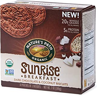 Nature's Path Organic Sunrise Breakfast Biscuits, Dark Chocolate & Coconut, 7 Ounce Box (6 Count)