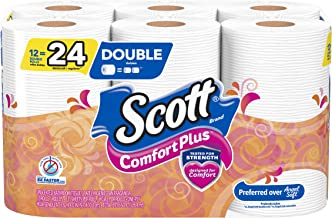 Scott ComfortPlus Toilet Paper, 12 Double Rolls, Bath Tissue