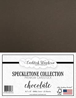 Chocolate Brown Speckletone Recycled Cardstock Paper - 8.5 x 11 inch - Premium 100 LB. Cover - 25 Sheets