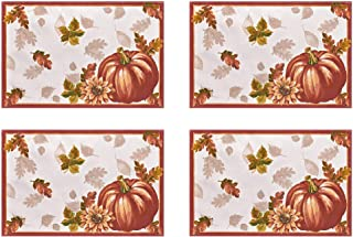 Newbridge Autumns Bounty Bordered Thanksgiving and Fall Season Fabric Placemat Set, Bountiful Farm Pumpkin and Gourd Harvest Easy Care Placemats, Set of 4 Placemat Sets