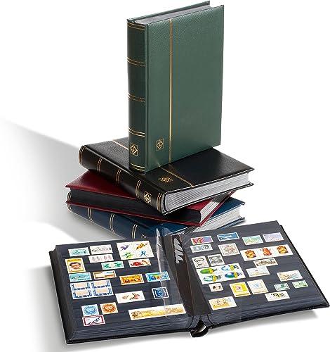 Leuchtturm Briefmarken-Sammel-Album, Einsteckbuch Premium, DIN A4, 64 Schwarz Seiten, wattierter Ledereinband, Schwarz