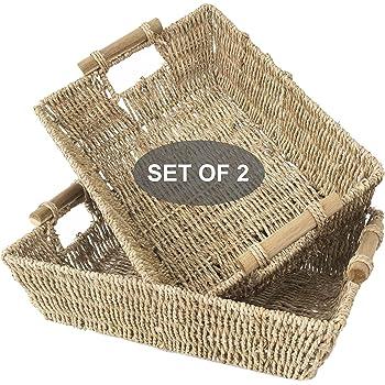 Made Terra Cestas de mimbre Seagrass para baño, cocina y decoración del hogar | Cestas tejidas