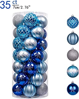 Valery Madelyn 35ct 70mm Winter Wishes Silver Blue Shatterproof Christmas Ball Ornaments Decoration for Christmas Tree