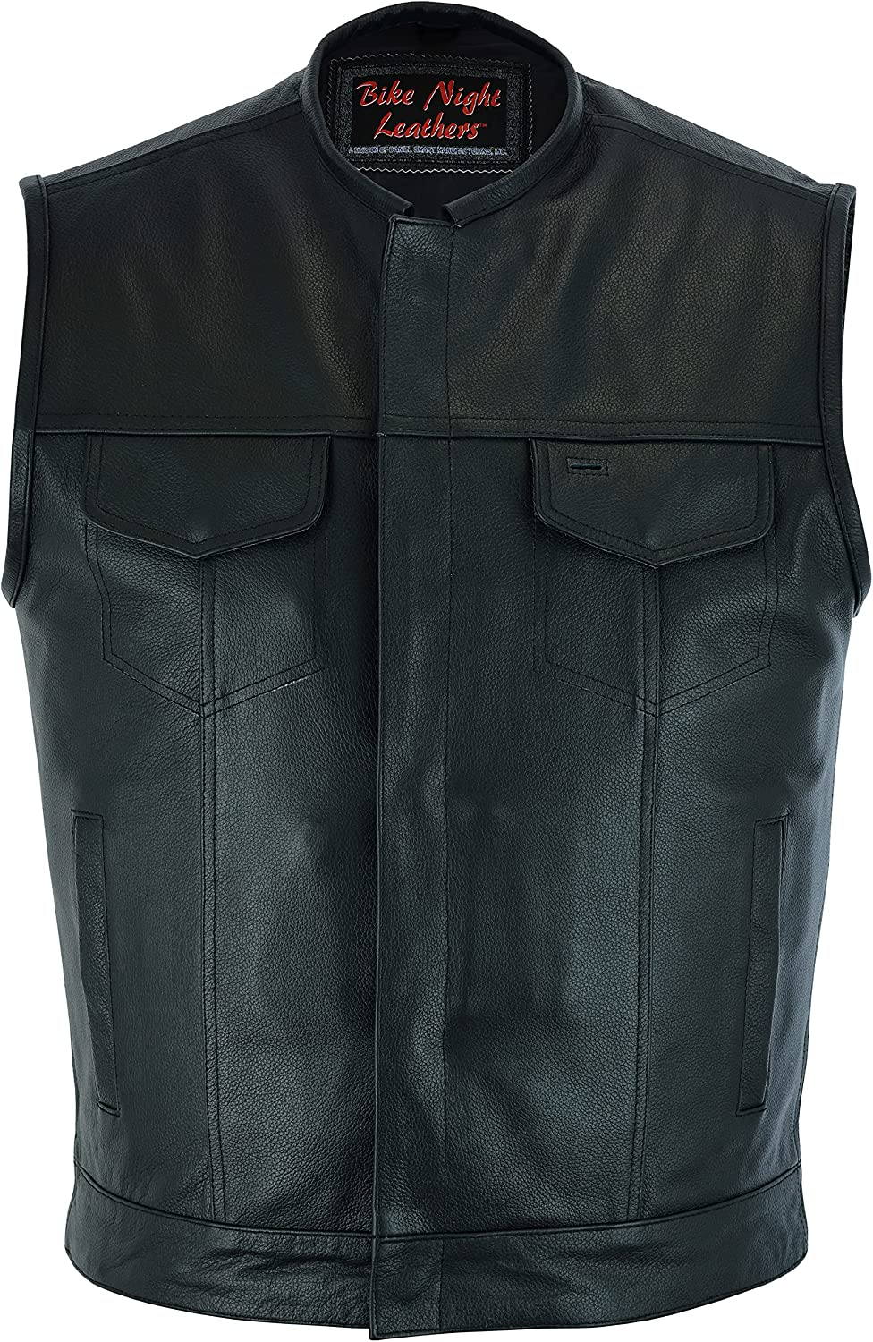 shopping Genuine Free Shipping Daniel Smart Men's Black Leather Motorcycle Vest Carry Concealed