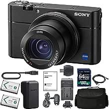 SonyCyber-Shot DSC-RX100 V Digital Camera + Sony NP-BX1/M8 Battery Spare NP-BX1 Battery, 64gb SDXC 1200x Card, Reader, Case, AC Adapter Bundle Kit - International Version