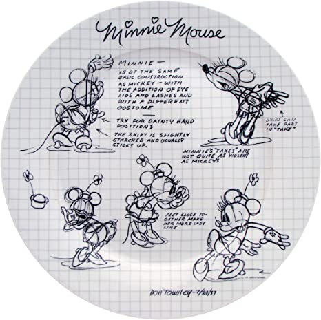 DISNEYS MICKEY MOUSE SKETCHBOOK CHRISTMAS DESIGN TWO 2 8 DINNER PLATES  NEW