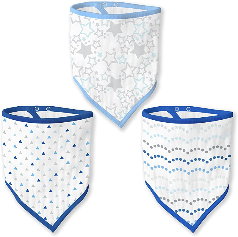 SwaddleDesigns Cotton Muslin Bandana Bib 3 Pack Blue Shimmer Set