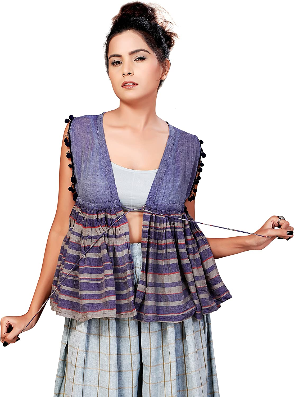Vilayaa Women's Strike Out Cotton Shrug with Stripe Flare