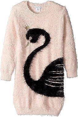 Little Marc Jacobs - Knitted Swan Illustration Long Sleeve Dress (Toddler/Little Kids)