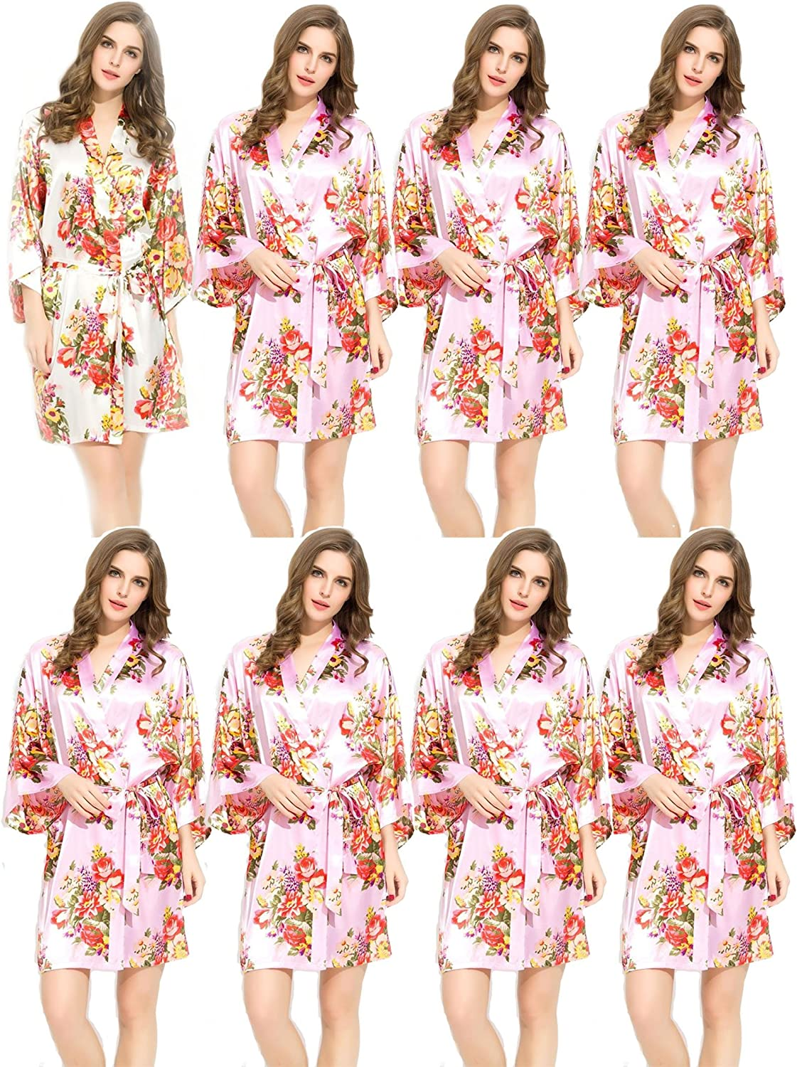8 Floral Satin Bridesmaids Robes Pink & White Wedding Bride by Endless Envy