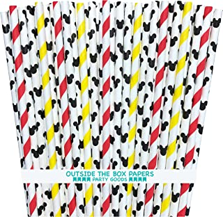 Mickey Mouse Inspired Paper Straws - Mouse Ears Stripe - Red Black Yellow White - 100 Pack - Outside the Box Papers Brand