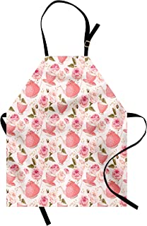 Ambesonne Floral Apron, Vintage Style Tea Cups with Roses Romantic Shabby Form Design Print, Unisex Kitchen Bib with Adjustable Neck for Cooking Gardening, Adult Size, Fern Green