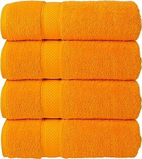Todd Linens Ensemble de 4 serviettes de bain en balles - 500 GSM 100% coton Accessoires de cuisine (ORANGE, ensemble de 4 ...