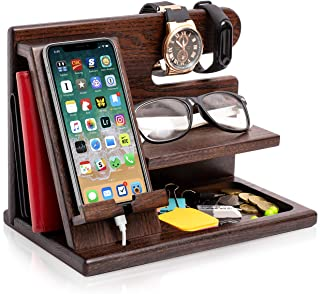 TESLYAR Wood Phone Docking Station Ash Key Holder Wallet Stand Watch Organizer Men Gift Husband Wife Anniversary Dad Birth...
