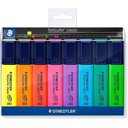Staedtler 364 WP8 Textsurfer Classic, Surligneurs Fluorescents De Haute Qualité Résistants Aux Uv, Pointe Biseautée De 1 À 5 Mm, Étui Plastique Avec 8 Surligneurs Assortis