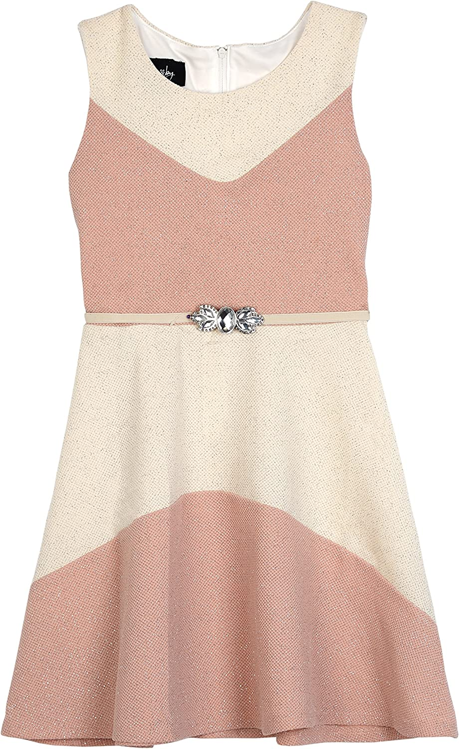 Amy Byer Girls' Big Sparkle Fit and Flare Colorblock Dress