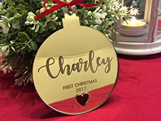 Baby's Christmas Ornament with Laser Cut Heart Baby's 1st Christmas Gifts My First Christmas 2019 Personalized Xmas Bauble Custom Gift for Christmas Hanging Name Tree Decorations Your Custom Text Here