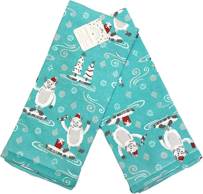 Cynthia Rowley Winter Holiday Yeti Abominable Snowman Set Of Two Red Decorative Christmas Guest Kitchen Hand Towels