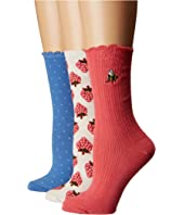 Kate Spade New York - Strawberry Rib 3-Pack Trouser Socks