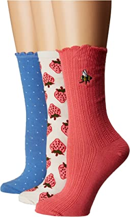 Strawberry Rib 3-Pack Trouser Socks