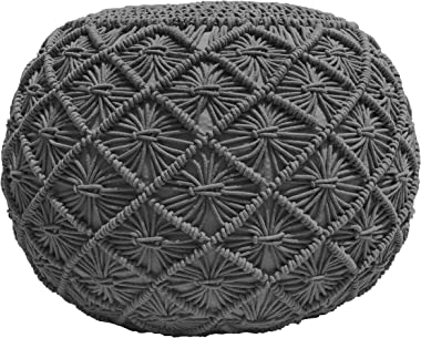 Pouf Ottoman Hand Knitted Cable Style Dori Pouf - Macramé Pouf - Floor Ottoman - 100% Cotton Braid Cord - Handmade & Hand Sti