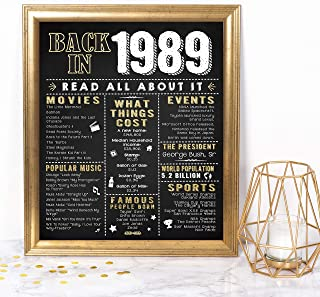 Katie Doodle 30th Birthday Decorations Party Supplies Gifts for Women or Men | Includes 8x10 Back-in-1989 Sign [Unframed], BD030, Black/Gold