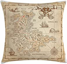SPXUBZ Ocean Old Ancient Antique Treasure Map With Details Retro Color Adventure Sailing Pirate Print Pillow Cover Decorative Home Decor Nice Gift Indoor Pillowcase Size: 18x18 Inch(Two Sides)