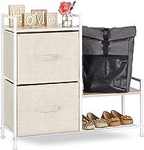 Relaxdays Planksysteem, 2 stoffen laden, universele ladebox, metaal en hout, HxBxD: 76 x 84 x 29 cm, beige