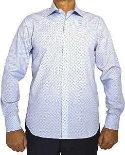 E. MECCI EN PROMOCION M11 Camisa de Hombre 100% algodón Azul Claro Estampado Slim Fit Manga Larga
