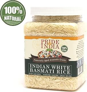 Pride Of India - Extra Long Indian Basmati Rice - Naturally Aged Aromatic Grain, 1.5 Pound Jar