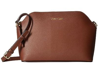 Calvin Klein Mercy Saffiiano Crossbody (Walnut) Handbags