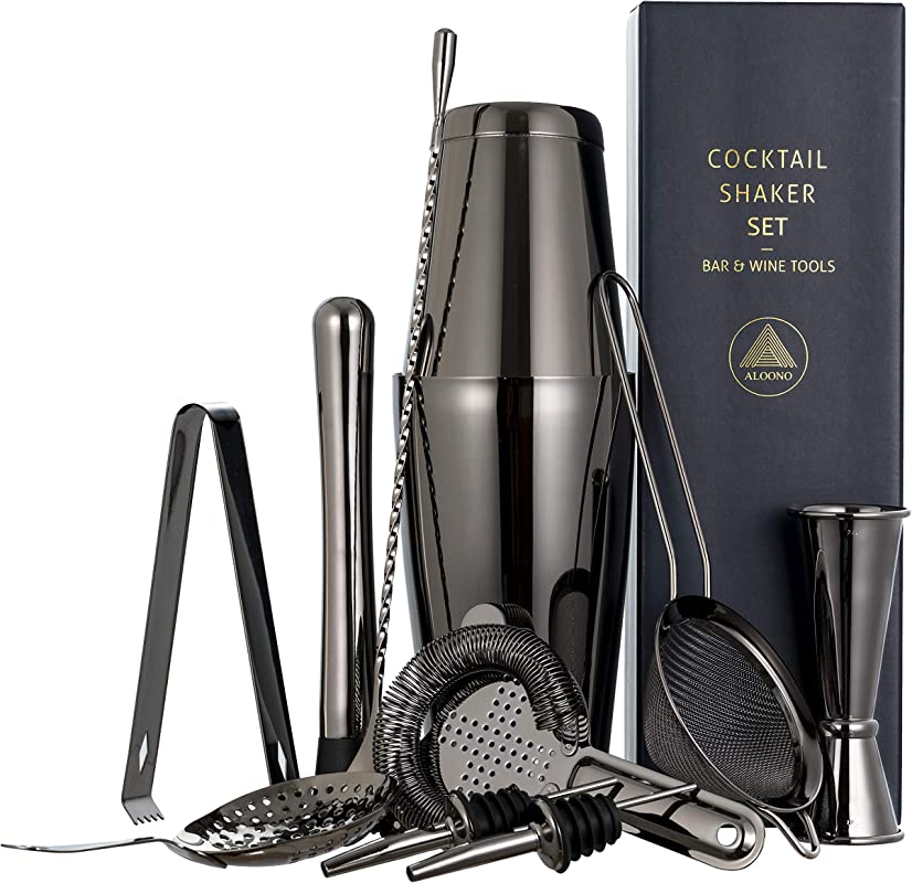 11 Piece Black Cocktail Shaker Bar Set 2 Weighted Boston Shakers Cocktail Strainer Set Double Jigger Cocktail Muddler And Spoon Ice Tong And 2 Liquor Pourers