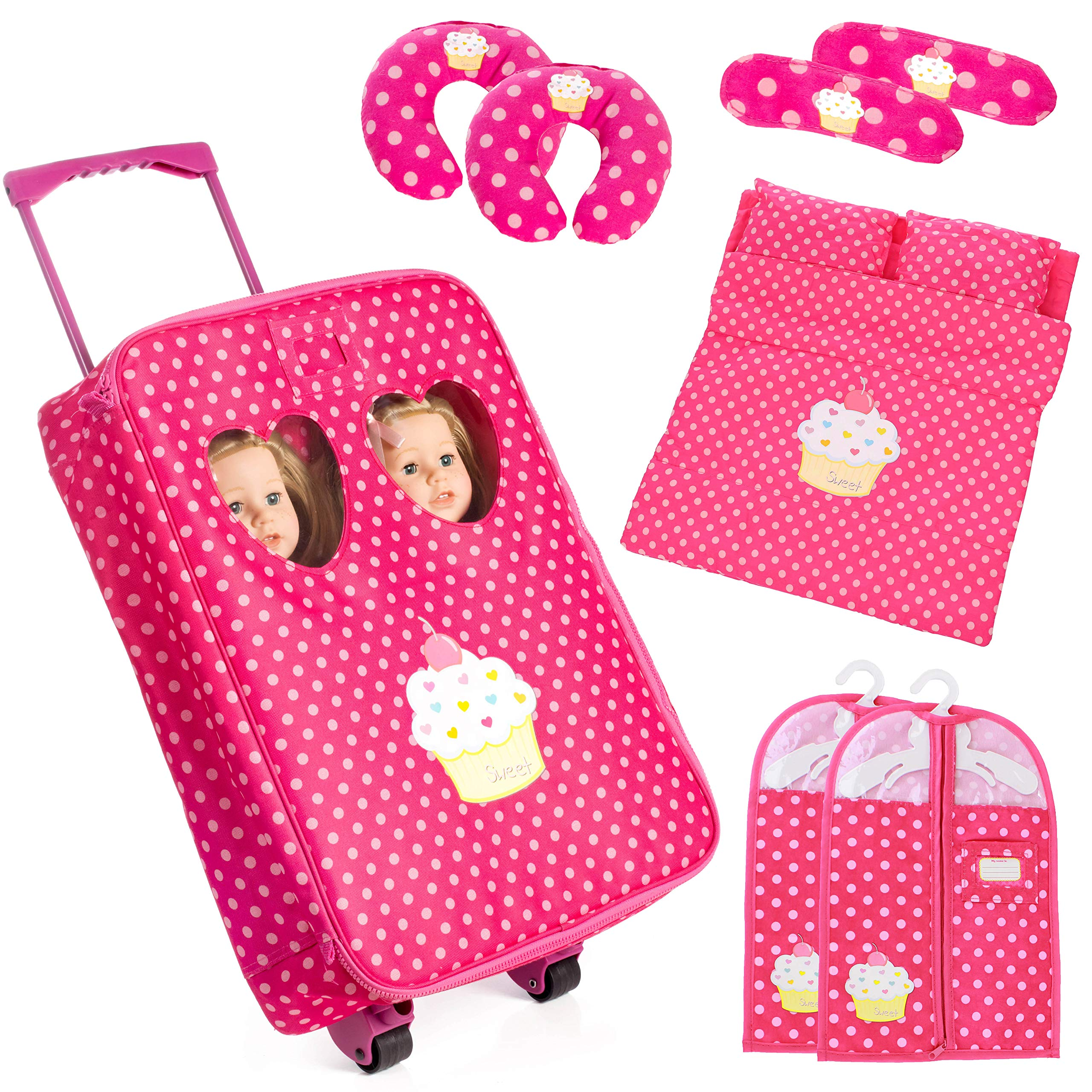 Beverly Hills Doll Collection 7 Piece Twin Doll Traveling Trolley Set fits 2 18 American Girl Dolls Includes Twin Sleeping Bags and AccessoriesDoll Not Included