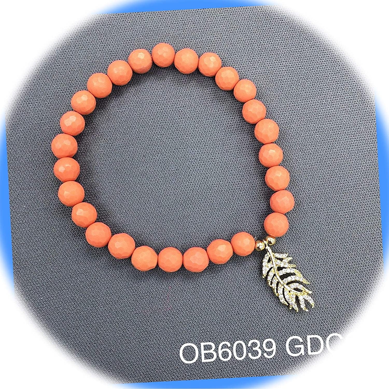 New Coral Beaded Semi-Precious Cubic Ranking TOP19 Feather Charm Zirconia Stre Detroit Mall