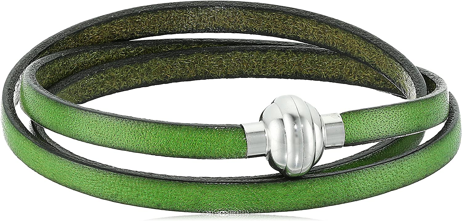 Military Green Max 57% OFF Color Leather and 2021 model Stainless Steel Magnetic Clasp