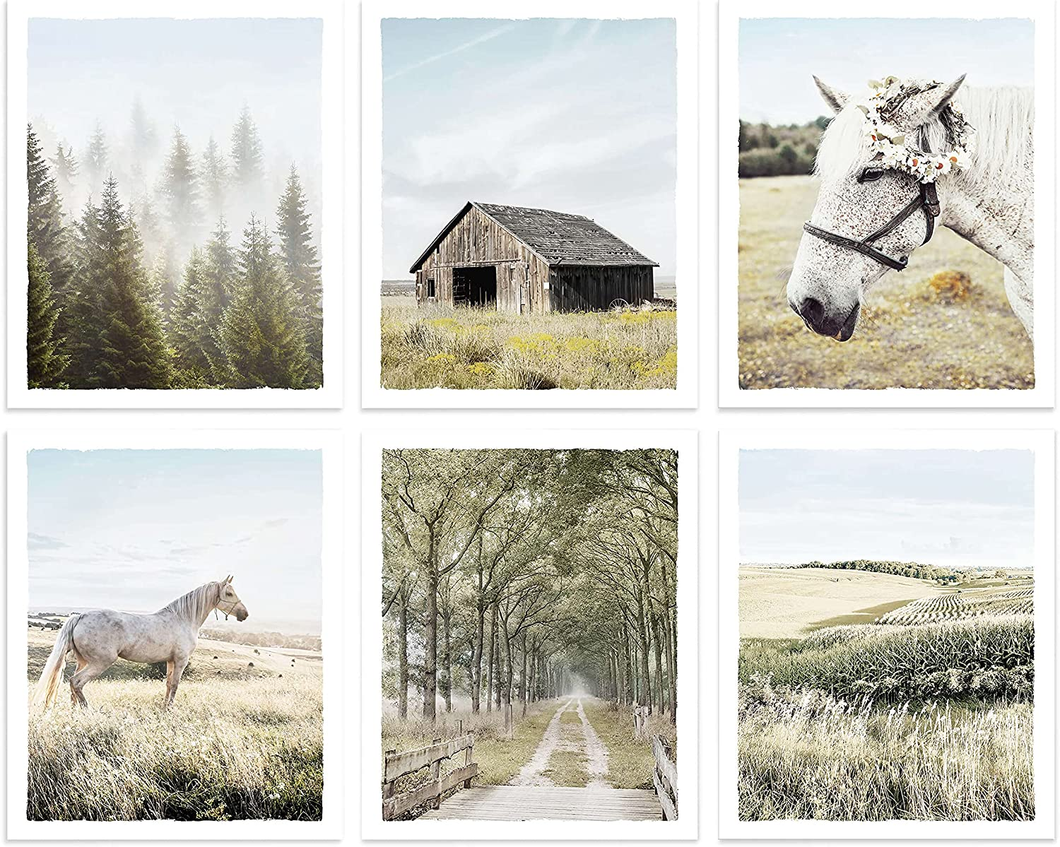 Countryside Landscape Pictures Wall Art - Rustic Farmhouse Barn Prints White Horse Photograph Misty Forest Grassland Nature Artwork for Home Decor, UNFRAMED, 8x10 Inches, Set of 6
