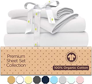 Tissaj 500-Thread-Count Organic Cotton Bed Sheets-Set 100% GOTS Certified Extra Long Staple, Soft Sateen Weave Sheet Set -...