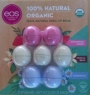 Eos Evolution of Smooth Lip Balm 100% Natural Organic Lip Care Gift 7-Pack ~ 2 Chamomile, 3 Vanilla Bean & 2 Strawberry So...