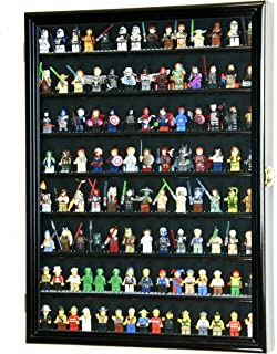sfDisplay.com,LLC. Large 110+ Lego Men Miniatures/Legos/Minifigures/Display Case Cabinet Holder – Lockable (Black Wood Finish)