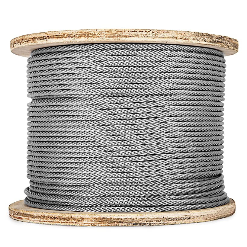 Happybuy 0.18 Inch 7x19 Stainless Steel Aircraft Cable Reel 500FT Stainless Steel Cable T304 Wire Rope Winch Cable Replacement (T304)