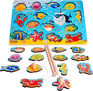 Magnetic Fishing Game Best Birthday Christmas Gifts for 1 2 3 4 Year Old Boy Girl with 2 Fishing Rods 14pcs Fish Magnet Game Fishing Puzzles for kids Toddlers Toys Fishing Toys Educational Toy