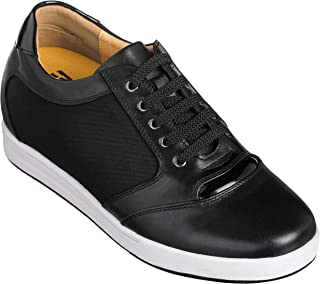 TOTO Men's Invisible Height Increasing Elevator Shoes - Black Leather/Mesh Lace-up Casual Fashion Sneakers - 3.2 Inches Taller - A53272